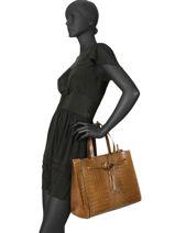 Leather Croco Satchel Milano Brown - 0CR19092-vue-porte