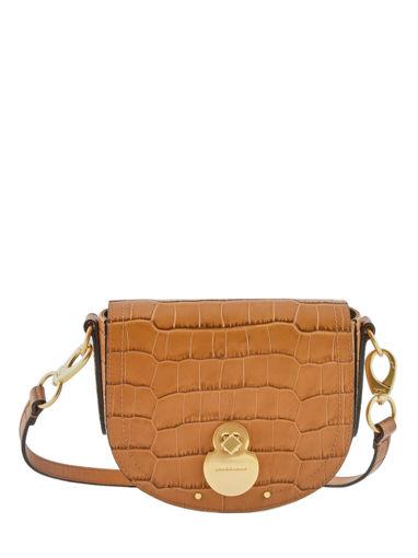 Longchamp Cavalcade croco Messenger bag Brown