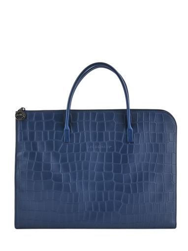 Longchamp Croco block Serviette Bleu