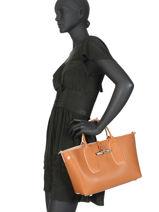 Longchamp Roseau luxe Sacs porté main Marron-vue-porte