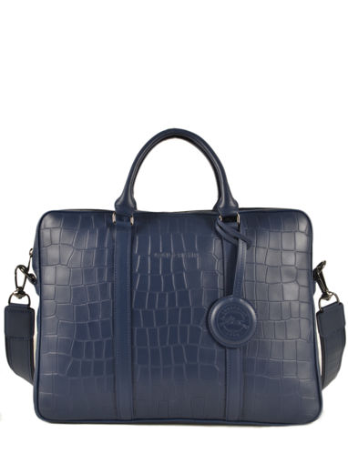 Longchamp Croco block Briefcase Blue-vue-porte