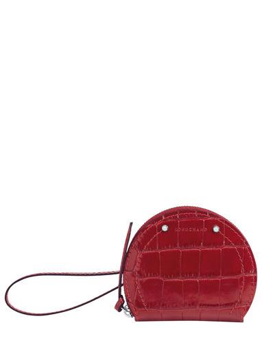Longchamp Cavalcade croco Porte-monnaie Rouge