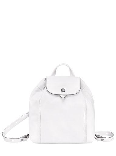 Longchamp Le pliage cuir Sac à dos Blanc