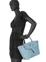 Medium Leather Satchel Néo Charlie Lancel Blue neo charlie A10508-vue-porte
