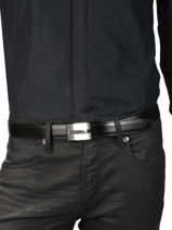 Leather Belt With Stainless Steel Buckle Montblanc Black belts 114385-vue-porte