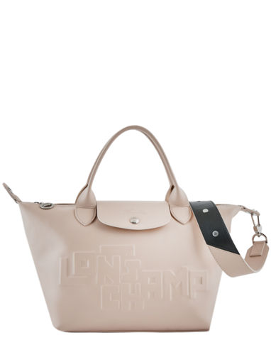 Longchamp Le pliage animation cuir estam Sacs porté main Beige