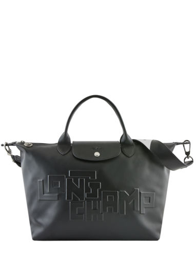 Longchamp Le pliage animation cuir estam Sacs porté main Rouge