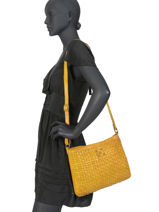 Large Leather Crossbody Bag Heritage Biba Yellow heritage KA2-vue-porte