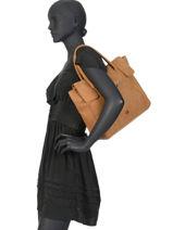 Leather Shoulder Bag Collins Biba Brown collins FORL3-vue-porte