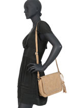 Shoulder Bag Loft Fuchsia Beige loft F9864-5-vue-porte