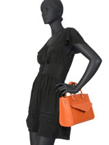 Sac Porté Main Signature Cuir Lancaster Orange signature 527-10-vue-porte