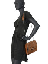Medium Leather Crossbody Bag Velvet Milano Brown velvet VR180602-vue-porte