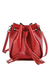 Leather Crossbody Bag Croco Milano Red CR19114N