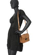 Leather Crossbody Bag Croco Milano Brown CR19062N-vue-porte