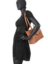 Medium Leather Tote Bag Soft Vintage Lancaster Brown 577-04-vue-porte