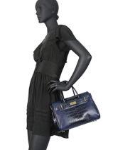 Leather Satchel Romy Mac douglas Blue romy PYLROM-2-vue-porte