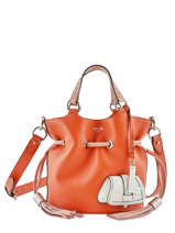 Small Leather Bucket Bag Premier Flirt Bicolor Lancel Orange premier flirt A10597