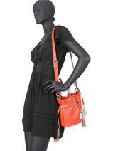 Small Leather Bucket Bag Premier Flirt Bicolor Lancel Orange premier flirt A10597-vue-porte