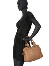 Leather Heritage Satchel Biba Brown heritage BT1-vue-porte