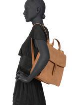 Backpack Coquelicot Woomen Brown coquelicot WCOQ02-vue-porte