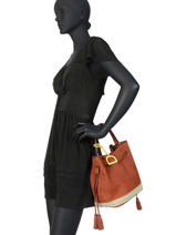 Medium Leather Bucket Bag Bangkok Etrier Brown bangkok EBAF03-vue-porte