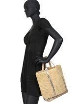 Le Cabas Moyen Raphia Paillettes Vanessa bruno Noir cabas raphia 64V40413-vue-porte