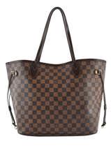 Preloved Louis Vuitton Shoulder Bag Neverfull Damier Ebene Brand connection Brown louis vuitton 659A