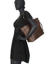 Preloved Louis Vuitton Shoulder Bag Neverfull Damier Ebene Brand connection Brown louis vuitton 659A-vue-porte