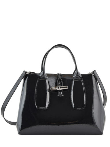 Longchamp Roseau vernis Sacs porté main Noir