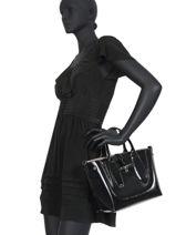 Longchamp Roseau vernis Sacs porté main Noir-vue-porte