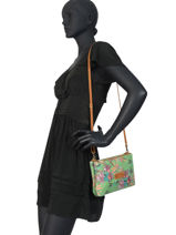 Crossbody Bag Palm Raffia Mila louise Green palm 23665PLM-vue-porte