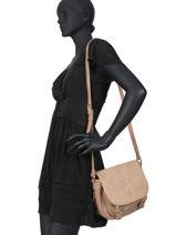 Crossbody Bag Bimatiere Lulu castagnette Beige bimatiere LAURENCE-vue-porte