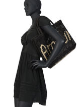 "Jute Shopping Bag ""amour"" The jacksons Black word bag S-AMOUR-vue-porte"