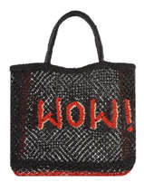 "Jute Shopping Bag ""wow!"" The jacksons Black word bag S-WOW"