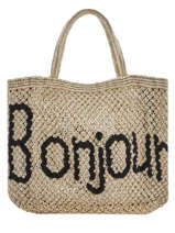 "Jute Shopping Bag ""bonjour"" The jacksons Beige word bag S-BONJOU"