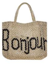 "Sac Shopping ""bonjour"" Format A4 Paille The jacksons Beige word bag S-BONJOU"