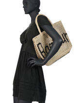 "Jute Shopping Bag ""bonjour"" The jacksons Beige word bag S-BONJOU-vue-porte"