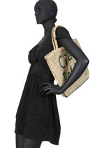 """Sac Shopping """"ciao Bella"""" Format A4 Paille The jacksons Beige word bag S-CIAOBE-vue-porte"""