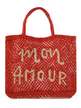 "Jute Shopping Bag ""mon Amour"" The jacksons Red word bag S-MONAMO"