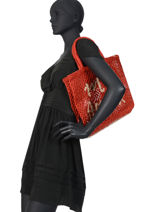 "Jute Shopping Bag ""mon Amour"" The jacksons Red word bag S-MONAMO-vue-porte"