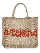 "Jute Shopping Bag ""weekend"" The jacksons Beige word bag S-WEEKEN"