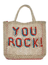 """Sac Shopping """"you Rock!"""" Format A4 Paille The jacksons Beige word bag S-YOUROC"""