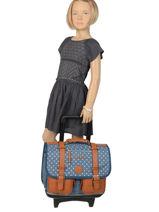 Schoolbag On Wheels For Kids 2 Compartments Cameleon Blue vintage print girl PBVGCR38-vue-porte