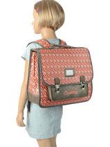 Backpack 2 Compartments Cameleon Gray retro PBRECA38-vue-porte