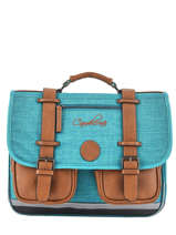 Satchel For Kids 2 Compartments Cameleon Blue vintage chine VIN-CA38