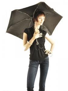 Umbrella Isotoner Black auto mini 09145-vue-porte