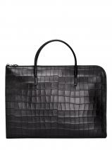 Longchamp Croco block Serviette Noir