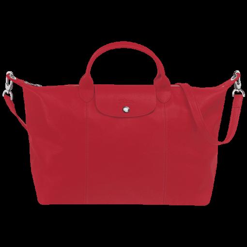 Longchamp Le pliage cuir Sac port� main Rouge