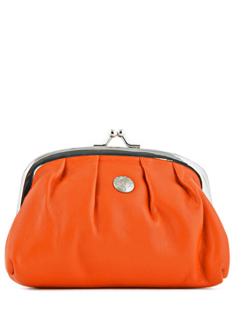 Porte-monnaie Cuir Hexagona Orange coconut E77215