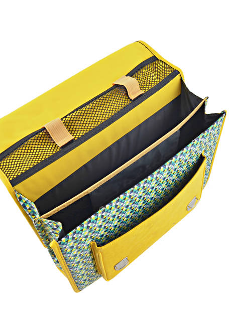 Cartable 2 Compartiments Cameleon Jaune retro RET-CA35 vue secondaire 5